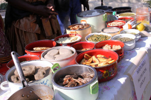 Dishes prepared on site for a food fair held in the Barotse floodplain. The food was judged in a competition for the most nutritious dish. (Bioversity International/ E.Hermanowicz)