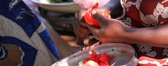 A woman peels a tomato to add to a dish of tomato, pumpkin and vegetables, Barotse floodplain, Zambia. (Credit: Bioversity International/E.Hermanowicz)