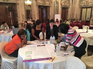 Participants discuss during an A4NH-led learning lab on the project-level Women's Empowerment in Agriculture Index