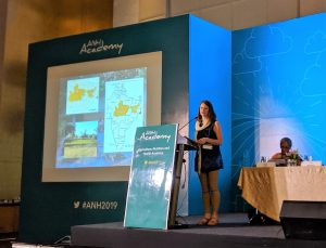 Carly Nichols presents her research at ANH Academy Week 2019 (Photo credit: Elena Martinez/IFPRI)